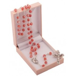 Pink Rosary Beads. Supplied in Gift Presentation Case.
