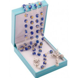 Blue Rosary Beads. Supplied in Gift Presentation Case.