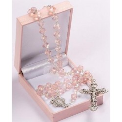 Pink Glass Beads Rosary. Supplied in Gift Presentation Case.