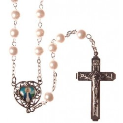 White Pearl Bead Rosary . Our Lady Immaculate Picture Junction.