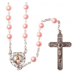 Pink Pearl Bead Rosary . Sacred Heart of Jesus Picture Junction.