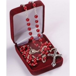 Metallic Red Rosary Bead. In Gift Presentation case.