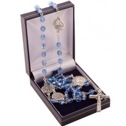 Basilicas of Rome Rosary Beads. Blue Crystal Beads. Supplied in Gift Presentation Case.