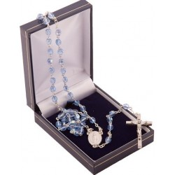 Blue Crystal Rosary Beads. Supplied in Gift Presentation Case.