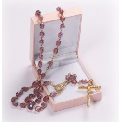 Amethyst Glass Rosary Beads. Supplied in Gift Presentation Case.