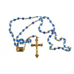 Blue Crystal Glass Rosary.