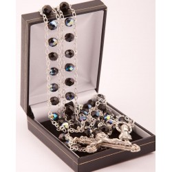 Black Glass 'Ladder' Rosary Beads. Supplied in Gift Presentation Case.