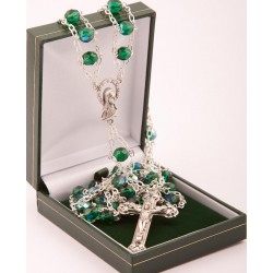 Green Glass 'Ladder' Rosary Beads. Supplied in Gift Presentation Case.