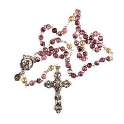 Amethyst Marble Effect Rosary Beads. Traditional Style Rosary Beads.