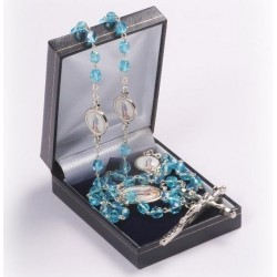 Sapphire Blue Miraculous Medal Rosary Beads.Supplied in Gift Presentation Case.