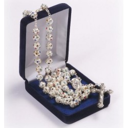 Glitter Ball Crystal Encrusted Rosary. Supplied in Gift Presentation Case.