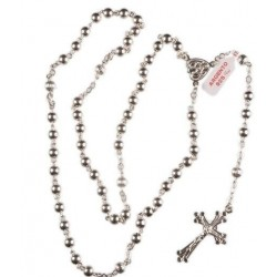 Genuine Hand Made Sterling Silver Rosary Beads. Supplied in Gift Presentation Case.
