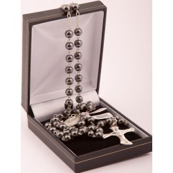 Genuine Hand Made Sterling Silver and Haematite Bead Rosary Beads. Supplied in Gift Presentation Case.