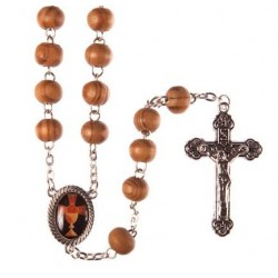 Brown Wood First Holy Communion Rosary Beads.