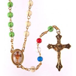 Glass First Holy Communion Missionary Rosary Beads.