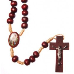 Brown Wood Rope Our Lady of Knock Rosary Bead