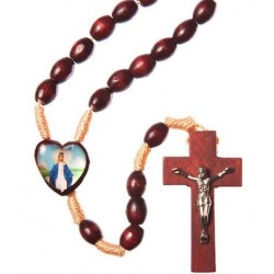Brown Wood Rope Our Lady Immaculate Rosary Bead