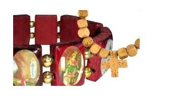 Religious bracelets. Holy bracelets with images of the Saints.