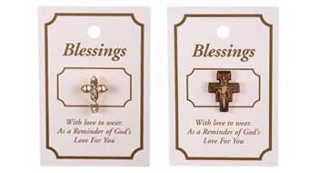A wide range of Christian Witness brooches and Guardian Angel Brooches.