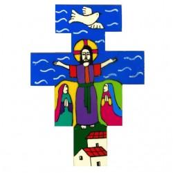 10 cm Hand Painted Risen Christ Cross