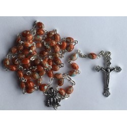 Boxed Brown Rosary. 382/10.