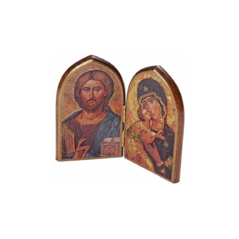 Our Lady and Christ Wooden Icon. Dyptych Icon
