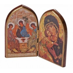 Our Lady and Holy Tinity Wooden Icon. Dyptych Icon