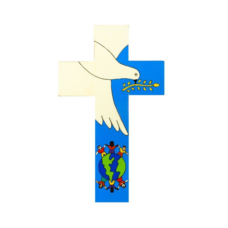10 cm Hand painted dove of peace cross