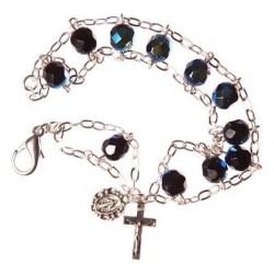 Crystal bead ladder bracelet black