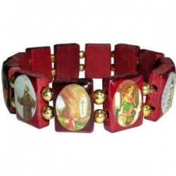 Elasticated wood bracelet with twelve images