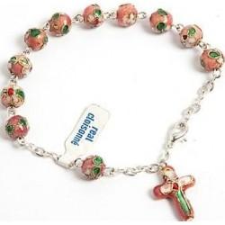 Cloisonne bead bracelet pink