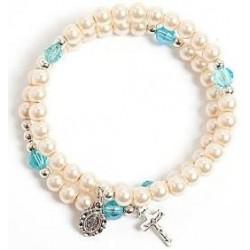 Imitation pearl bead bracelet in white