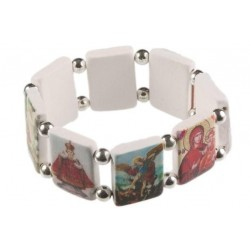 Elasticated white wood bracelet with eight images