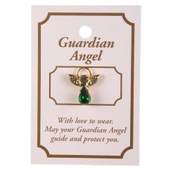 Green Crystal Guardian Angel Lapel Brooch