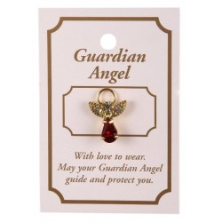 Red Crystal Guardian Angel Lapel Brooch