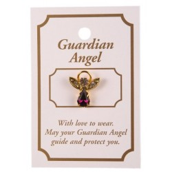 Amythyst Crystal Guardian Angel Lapel Brooch