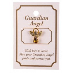 Topaz Crystal Guardian Angel Lapel Brooch