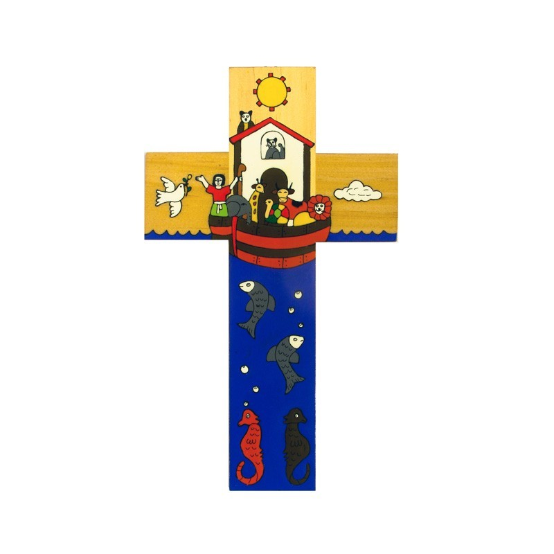 12 cm Hand Painted Noah's Ark Cross