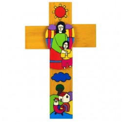 15 cm Boy with Guardian Angel Cross
