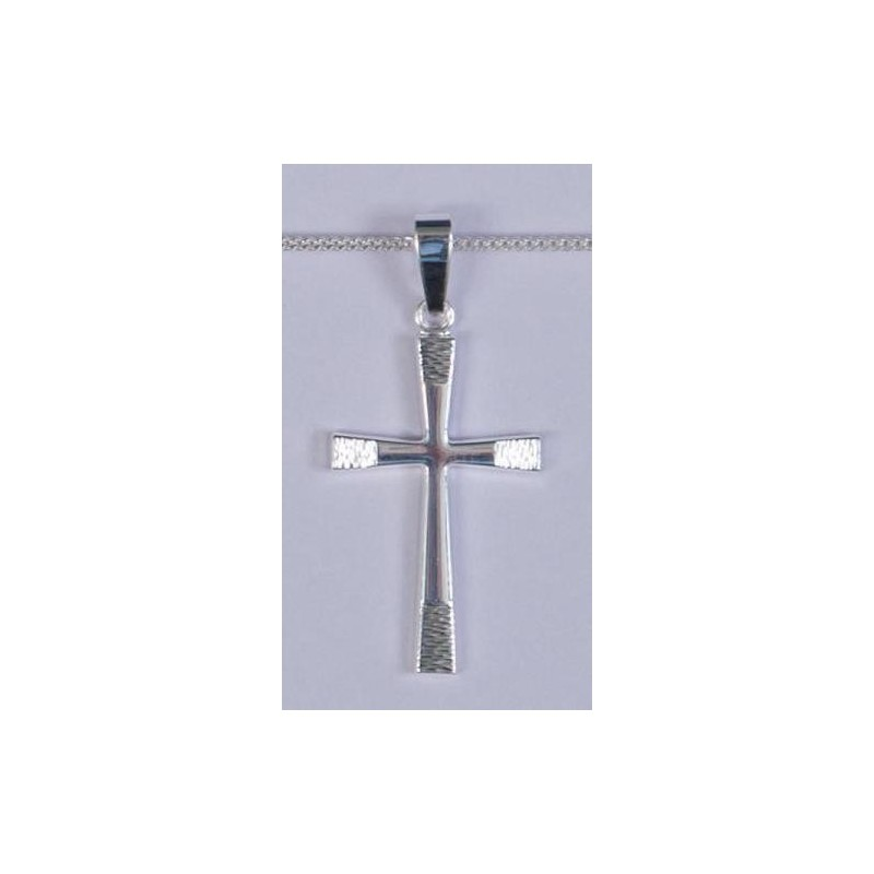 30mm Sterling Silver Patterned Tipped Cross and Necklet