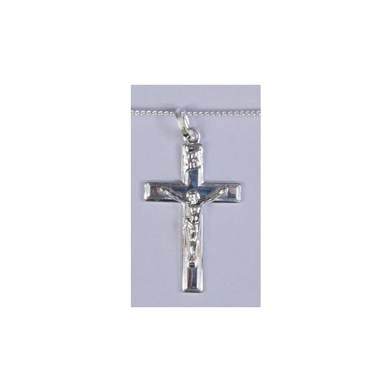 30mm Sterling Silver Crucifix  and Necklet