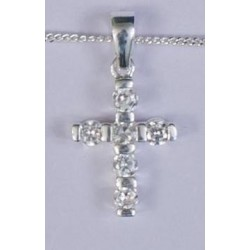22mm Sterling Silver Cross with Stones and Necklet