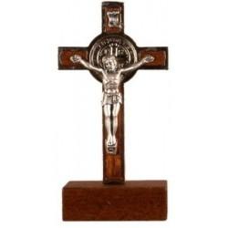 9cm Metal St Benedict Crucifix on wood base