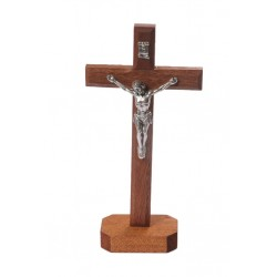 18cm Crucifix wood cross and base with metal corpus