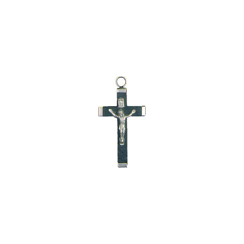 Pack of Three. 4cm Metal and Black Wood Crucifix.