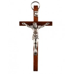9cm Crucifix wood cross with oxidised metal corpus