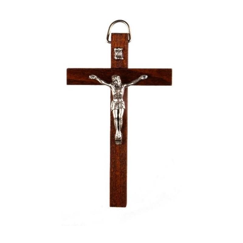 10cm Crucifix brown wood cross with oxidised metal corpus