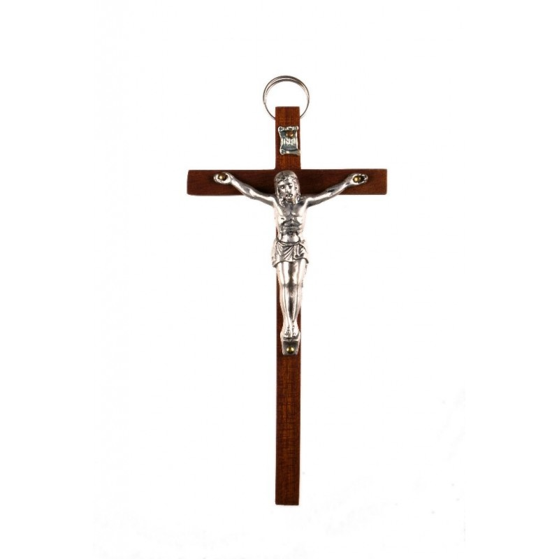 15cm Crucifix brown wood cross with oxidised metal corpus