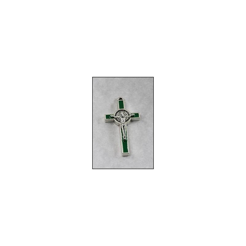 Pack of Three. 3cm Metal Green St. Benedict Cross Crucifix.