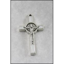 Pack of Three. 3cm Metal White St. Benedict Cross Crucifix.